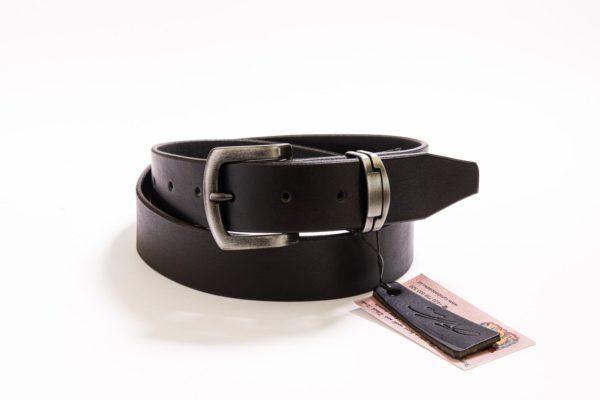 014 - Černý kožený opasek bez prošívání