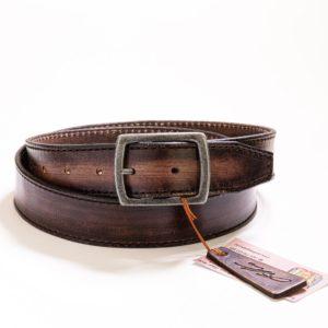 018 - Kožený hnědý opasek barvený s hnědým prošíváním