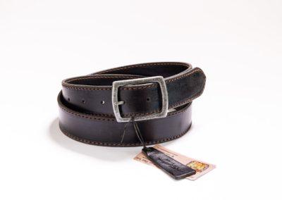 003 – Kožený opasek černý s hnědým prošíváním