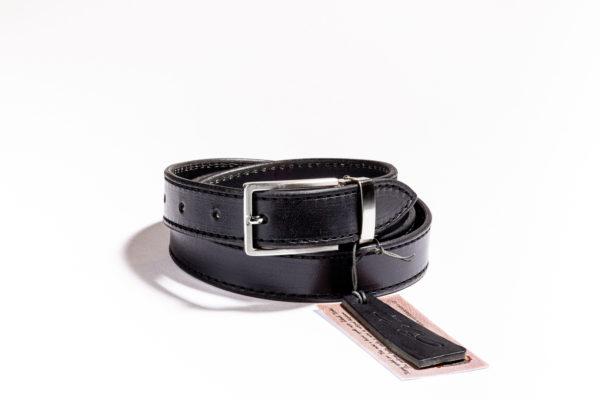 019 - černý kožený opasek s černým prošíváním